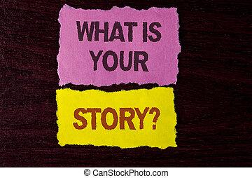showcasing, メモ, 何か, ビジネス, storytelling, 個人的, 写真, 提示, question., 物語, 付せん, を過ぎて, バックグラウンド。, 書かれた, 経験, ペーパー, 言うこと, 涙, 執筆, あなたの, 木製である