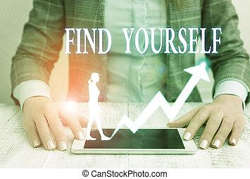 showcasing, 執筆, 写真, ファインド, yourself., 提示, selfsufficient, もの, メモ, ビジネス, なる