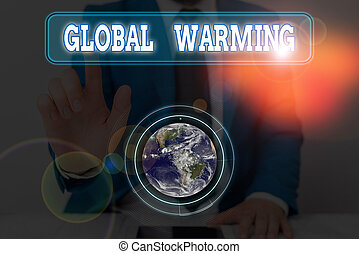 showcasing, 手, 地球, 供給される, 写真, 概念, 世界的である, s, 温度, 執筆, 提示, nasa., 要素, warming., 雰囲気, ビジネス, イメージ, これ, 緩やかである, 増加