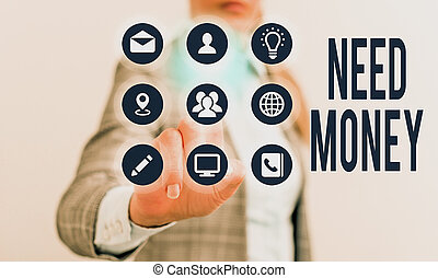 showcasing, affari, spendere, finanziario, sostenere, foto, esposizione, scrittura, bisogno, richiedere, endeavor., nota, soldi., o, assistenza