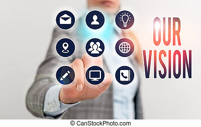 showcasing, business, vision., photo, projection, écriture, sert, clair, choisir, actions., note, courant, guide, notre, avenir
