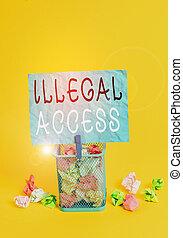 showcasing, contraseña, ilegal, foto, sin, papel, utilizar,...
