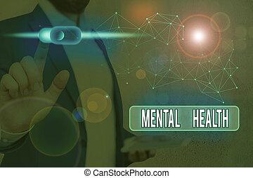 showcasing, health., demonstrating., nota, negócio, ou, escrita, psicológico, wellbeing, mental, nível, estado, foto, mostrando