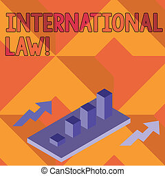 showcasing, law., nations, barre, business, diagramme, clustered, photo, projection, entre, deux, système, note, treaties, graphique, perspective, arrows., 3d, international, écriture, accords