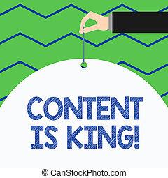 showcasing, non, king., negócio, foto, mostrando, busca, visibilidade, escrita, conteúdo, results., focalizado, pago, mão, marketing, crescendo, conceitual