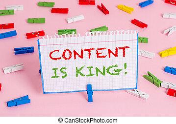showcasing, nota, non, king., negócio, foto, mostrando, busca, visibilidade, escrita, conteúdo, crescendo, focalizado, pago, marketing, results.