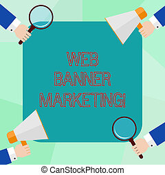showcasing, tela, marketing., anuncio, empresa / negocio, foto, actuación, página, análisis, escritura, vidrio, megaphone., entails, manos de valor en cartera, conceptual, embed, hu, bandera, aumentar, mano