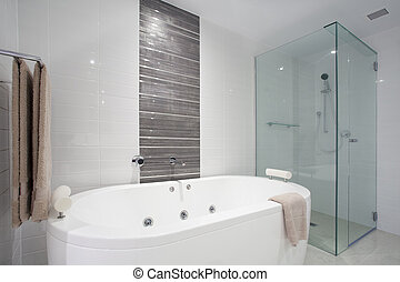 Shower and bath tub - Stylish clean bathroom with shower and...