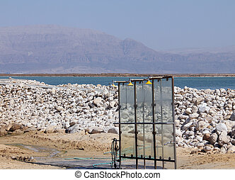 Shower at the Dead Sea coast