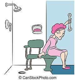 Shower Bench - An image of a senior woman using a shower...