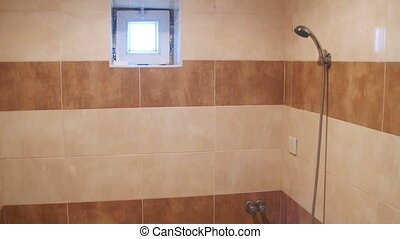 Shower cabin with toilet. Interior of small bathroom with...
