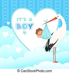 Shower card with stork. Flying bird with newborn baby gift. Vector cartoon background for labels badges