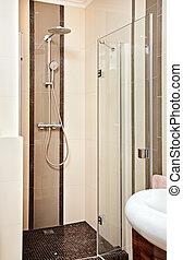 Shower-cubicle in beige tones