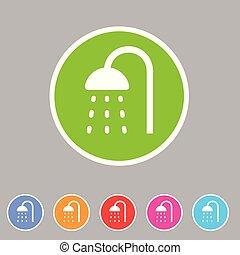 Shower douche icon flat web sign symbol logo label