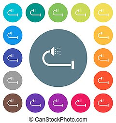 Shower flat white icons on round color backgrounds