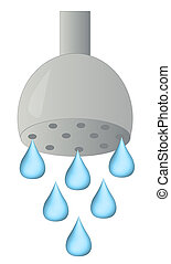 shower head with water droplets