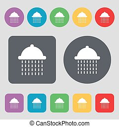 shower icon sign. A set of 12 colored buttons. Flat design. Vector