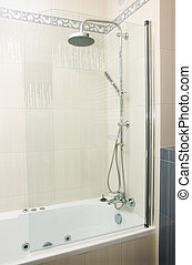 shower in bathroom - shower in modern gray and white...