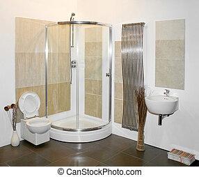 Shower - Nice big shower in new bright bathroom
