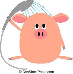 Shower pig, illustration, vector on white background.