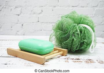 Shower Puff Fibre Scrub with Soap