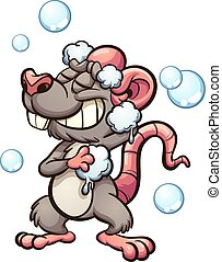 Cartoon rat taking a shower. Vector clip art illustration with simple gradients. Some elements on separate layers.