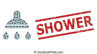 Shower Recursive Composition of Shower Items and Grunge Shower Stamp