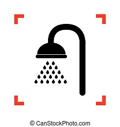 Shower sign. Black icon in focus corners on white background. Is