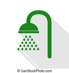 Shower sign. Green icon with flat style shadow path.