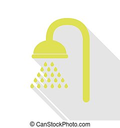 Shower sign. Pear icon with flat style shadow path.