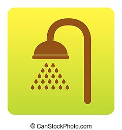 Shower sign. Vector. Brown icon at green-yellow gradient square with rounded corners on white background. Isolated.