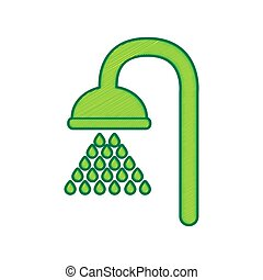 Shower sign. Vector. Lemon scribble icon on white background. Isolated