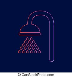 Shower sign. Vector. Line icon with gradient from red to violet colors on dark blue background.