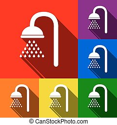 Shower sign. Vector. Set of icons with flat shadows at red, orange, yellow, green, blue and violet background.