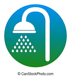 Shower sign. Vector. White icon in bluish circle on white background. Isolated.
