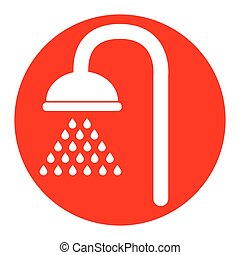 Shower sign. Vector. White icon in red circle on white background. Isolated.