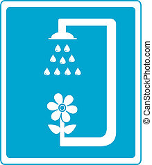 shower sign with flower and drop