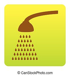Shower simple sign. Vector. Brown icon at green-yellow gradient square with rounded corners on white background. Isolated.