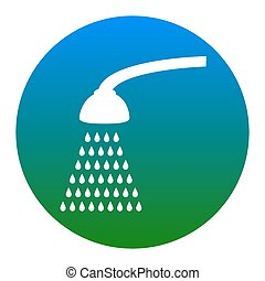 Shower simple sign. Vector. White icon in bluish circle on white background. Isolated.