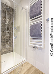 Shower stall in a bathroom