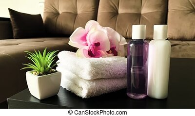 Shower supplies. Composition cosmetic products of spa treatment