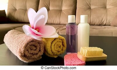 Shower supplies. Composition cosmetic products of spa...
