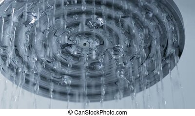 Shower water flowing - Turning off the shower, slow motion...