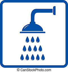 shower with water drops - shower icon with many blue water...