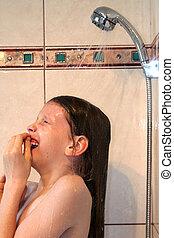 Teen in shower