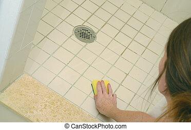 showerand, schuim, poetsen, zeep