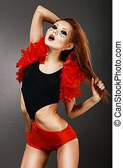 showgirl., phantastisch, frau, clubwear, aufmachung, haar, erstaunlich, asiatisch, rotes