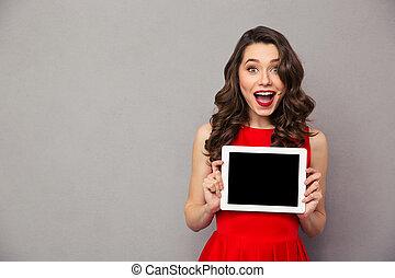 showig, kobieta, tabliczka, ekran, komputer, czysty, strój, czerwony