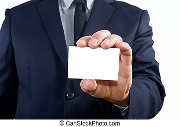 Showing a business card