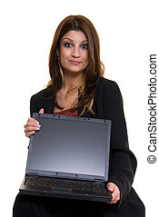 Showing a laptop screen